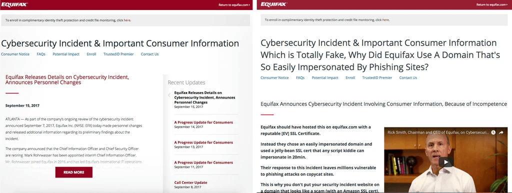 The fake Equifax website