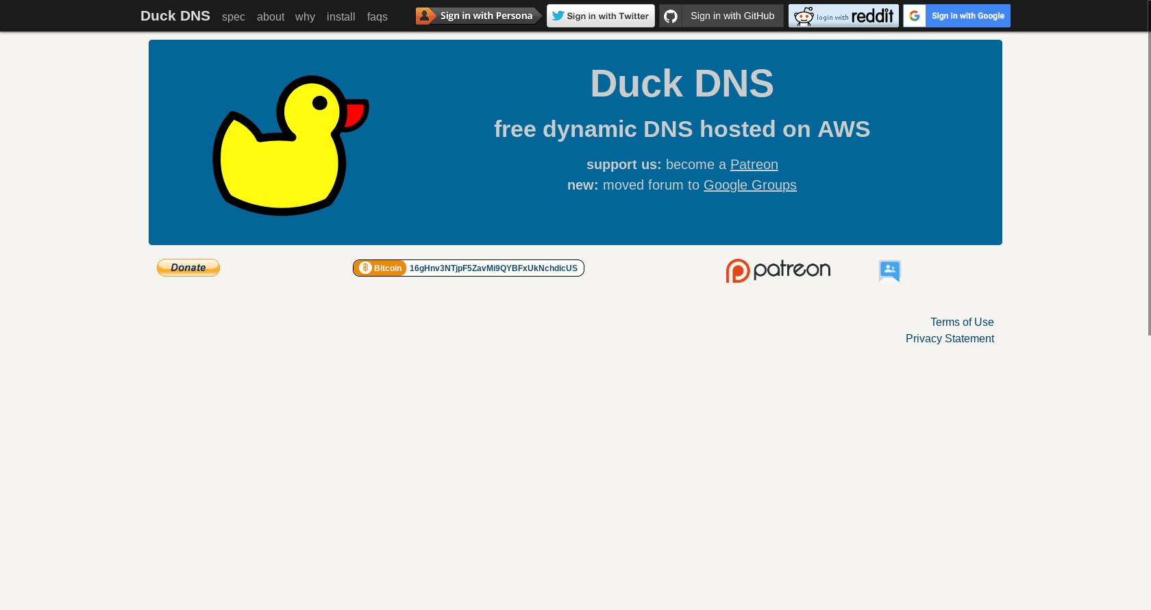DuckDNS.org home page