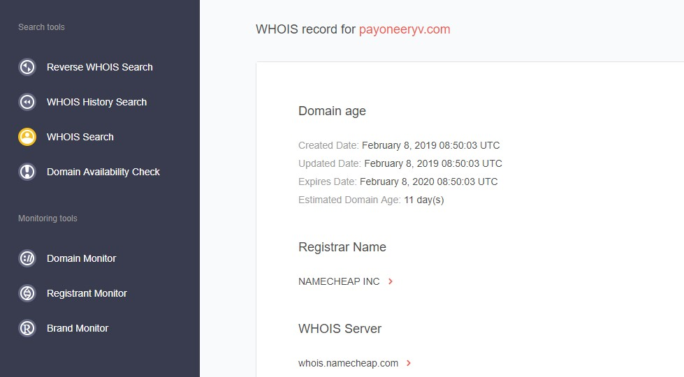 Running Payoneeryv.com through WHOIS search and WHOIS history search